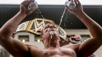 Gronkowski chugging beer shirtless.