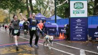 Thomas Panek CEO of Guiding Eyes running 5K with dog Gus