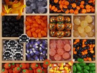 Assortment of Halloween candy in tray