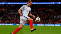 Harry Kane kicks soccer ball during the FIFA World Cup