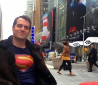 Henry Cavill goes semi-incognito in Times Square.