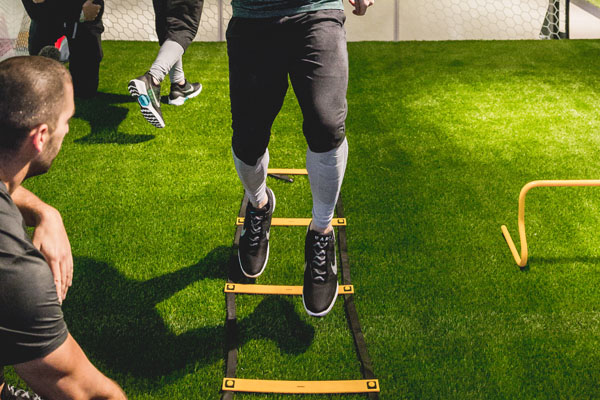 The Men's Fitness team tests the HyperAdapts with an agility ladder drill. Photo courtesy of Nike.