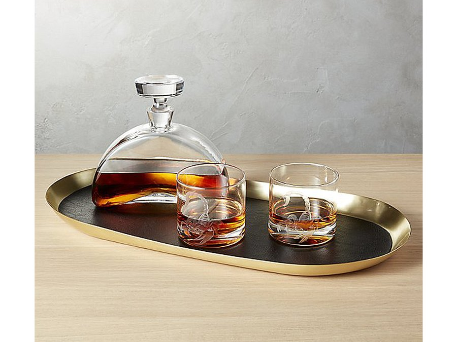 Jax Leather Bar Tray from CB2