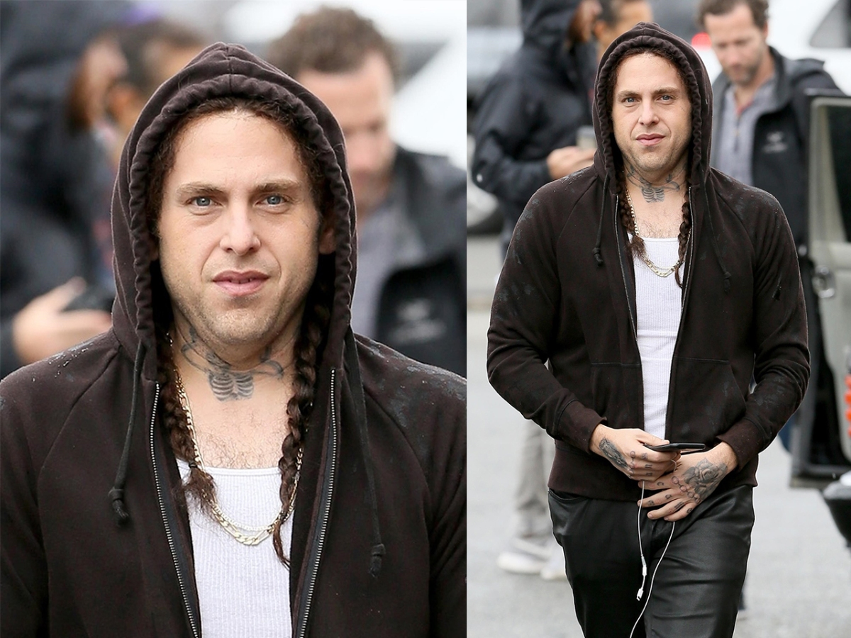c4a89f5d6 Photos: Jonah Hill Is Almost Unrecognizable With Braids and Tattoos on the ' Maniac' Set