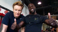 Conan O'Brien and Kevin Hart at CrossFit Horsepower in Los Angeles