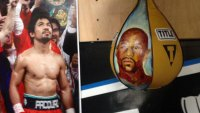 Manny Pacquiao Gifted Speed Bag With Mayweather's Face on It