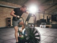 Man working out on resistance bike