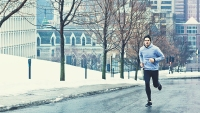 Man Running Outside in Winter