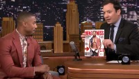 "Jimmy Fallon and Michael B. Jordan show off the December 2015 issue of Men's Fitness on ""The Tonight Show."""