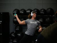 White Sox pitcher Michael Kopech shows off his muscles while training