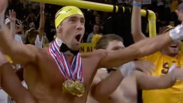 """Michael Phelps joins ASU's 942 Crew behind the """"Curtain of Distraction."""""""