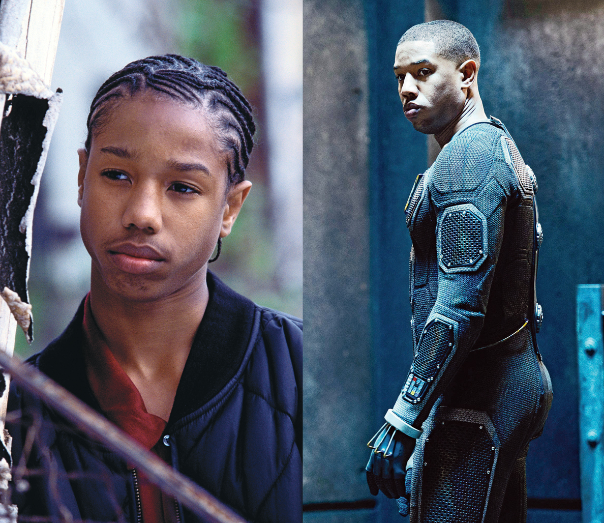 "Then and now: Jordan in HBO's ""The Wire"" (top) in 2002, and in this summer's ""Fantastic Four."""