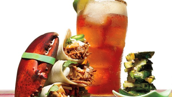 Michelada Cocktail and Lobster and Beef Shredded Carnitas