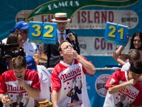 Joey Chestnut at 101st Nathan's Annual Famous International Hot Dog Eating Contest at Coney Island