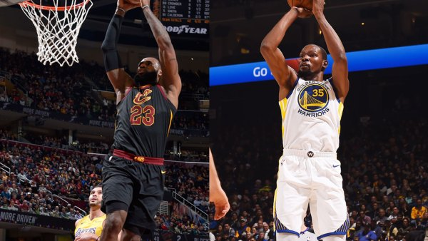 LeBron James #23 of the Cleveland Cavaliers and Kevin Durant of the Golden State Warriors