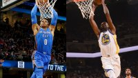 Russell Westbrook of the Thunder, Kevin Durant #35 of the Golden State Warriors