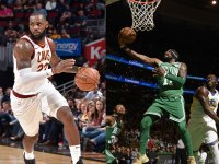 LeBron James #23 of the Cleveland Cavaliers, Kyrie Irving #11 of the Boston Celtics