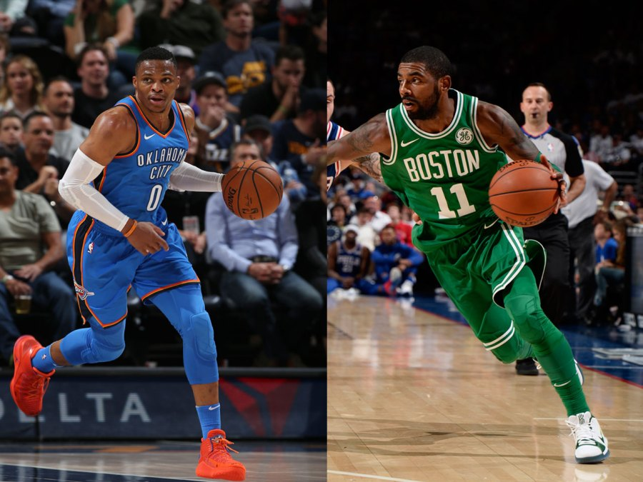 Kyrie Irving of the Boston Celtics, Russell Westbrook of the Thunder