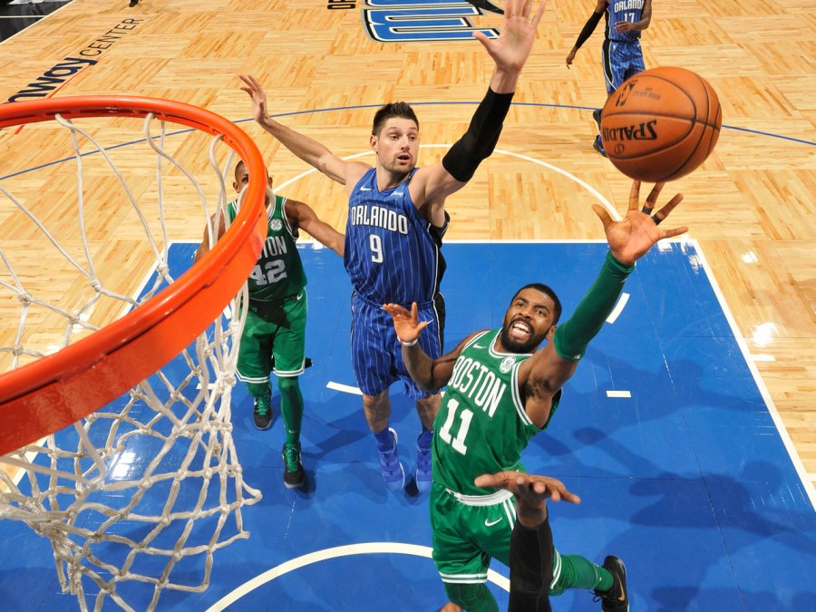 Kyrie Irving #11 of the Boston Celtics shoots the ball against the Orlando Magic