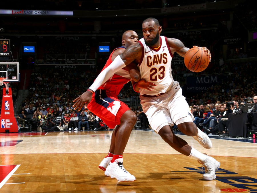 LeBron James #23 of the Cleveland Cavaliers goes to the basket against the Washington Wizards