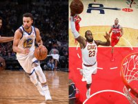 Stephen Curry #30 of the Golden State Warriors, LeBron James of the Cleveland Cavaliers