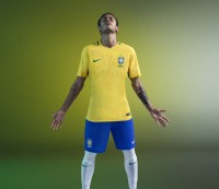 Neymar Jr. wears Brazil's new jersey.