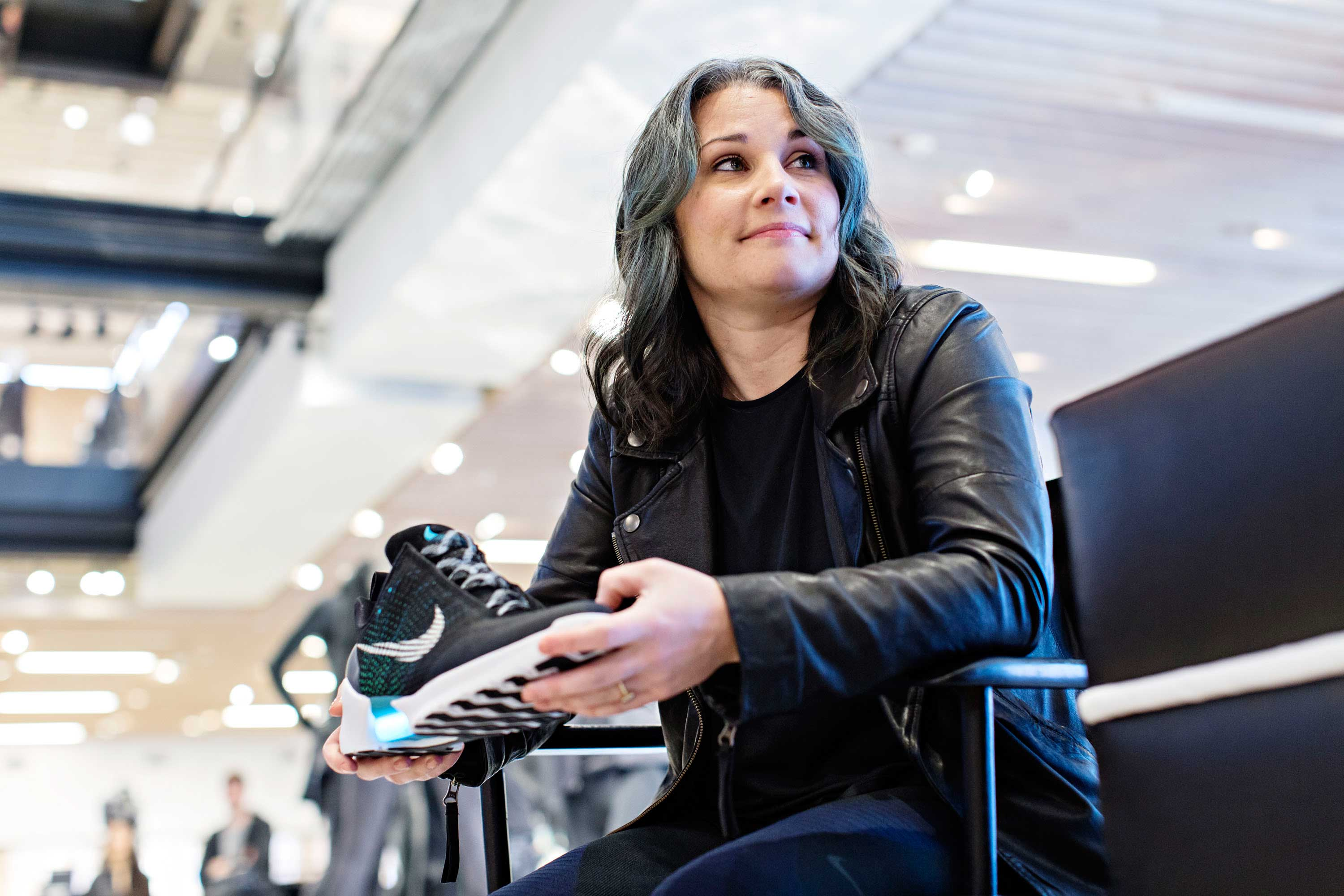 Nike HyperAdapt designer Tiffany Beers with the HyperAdapt 1.0 in New York. Photo courtesy of Nike.
