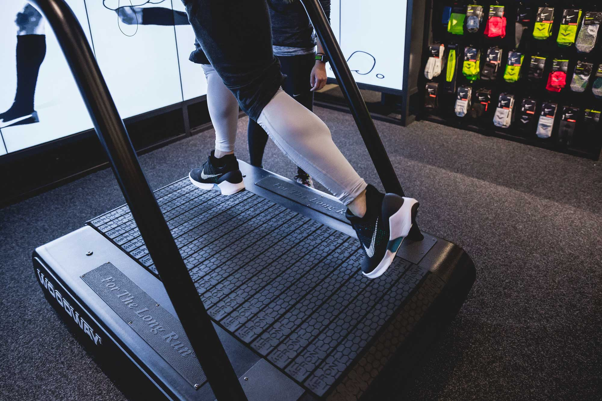 The Men's Fitness team tests the HyperAdapts on a Woodway treadmill. Photo courtesy of Nike.