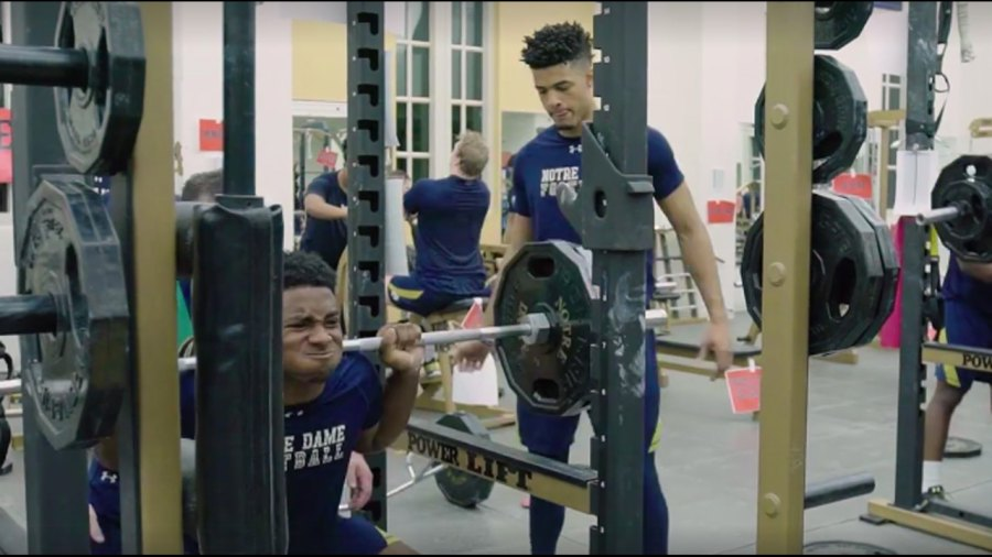Watch: Notre Dame Football Celebrates Valentine's Day by Crushing Offseason Workouts