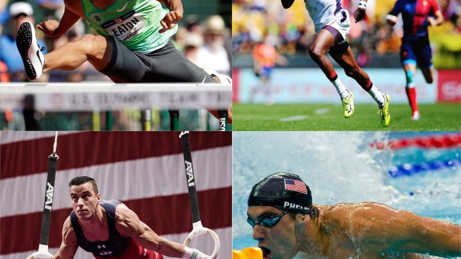Clockwise from top left: Perrry Baker (rugby), Michael Phelps (swimming), Jake Dalton (gymnastics), Ashton Eaton (decathlon)