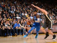 Paul George #13 of the Oklahoma City Thunder handles the ball against the Golden State Warriors