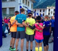 The first relay runners line up in Chamonix, France