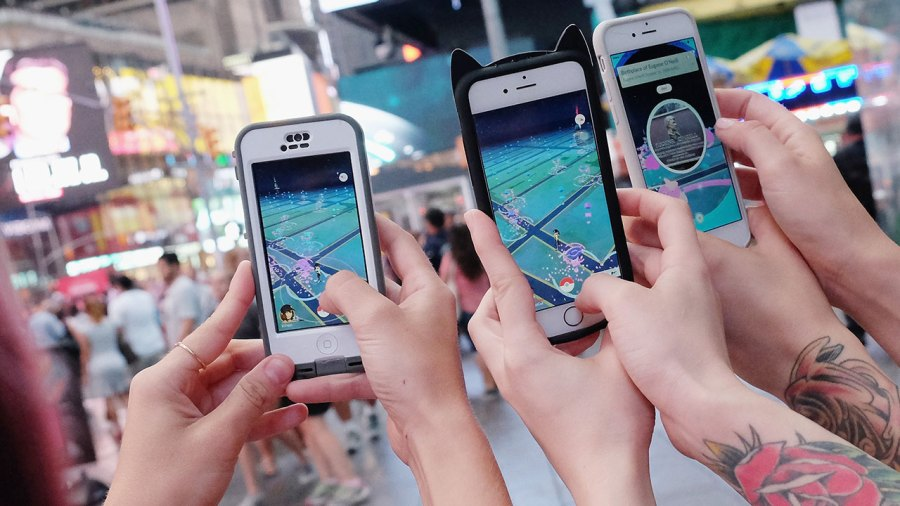 People playing Pokemon Go in NYC