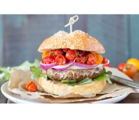 Portobello Burger With Caramelized Balsamic Tomatoes