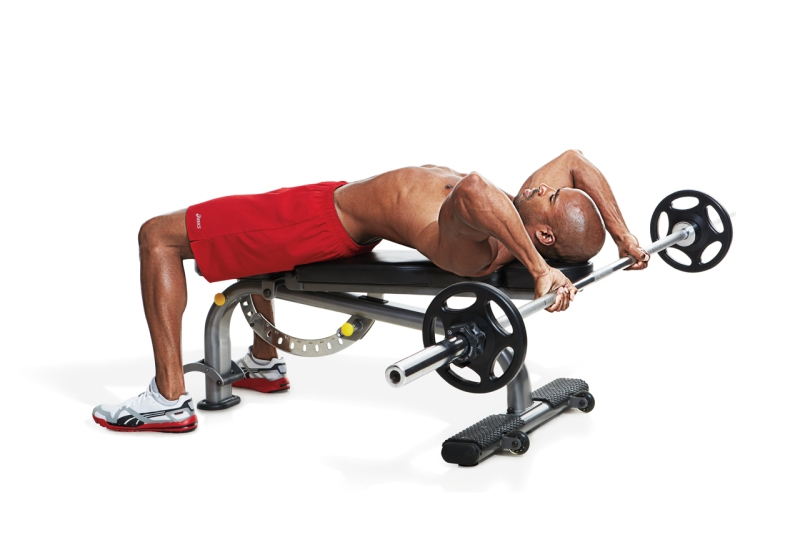 Lying triceps extensions.