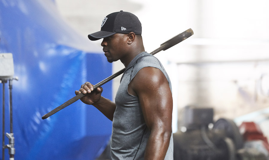 Khalil Mack of Oakland Raiders works out
