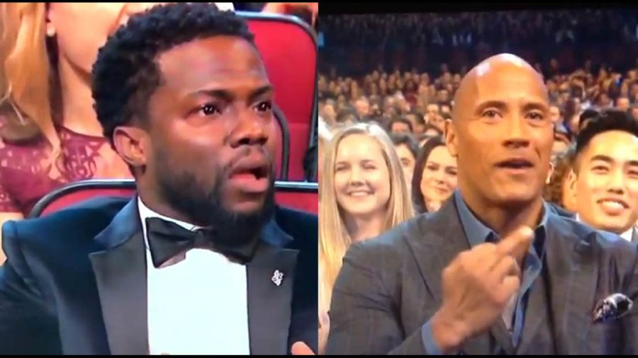 The Rock Flips Off Kevin Hart at the People's Choice Awards