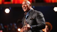 Actor Dwayne Johnson accepts the Favorite Premium Series Actor award for 'Ballers'