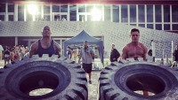 """Dwayne """"The Rock"""" Johnson and Zac Efron on the 'Baywatch' set"""