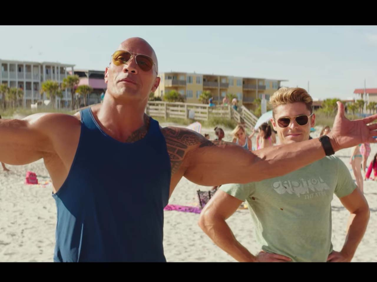 Dwayne Johnson and Zac Efron in 'Baywatch'