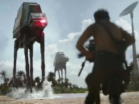 Rebels face an Imperial walker in 'Rogue One: A Star Wars Story.'