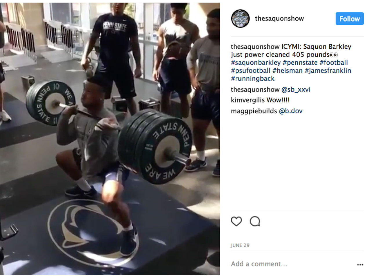 Here Are Saquon Barkley's Strongest Weight Room Lifts from College