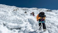 Sherpa ice climbing Everest