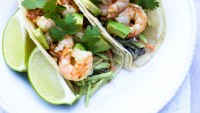 Chipotle lime shrimp tacos with creamy avocado broccoli slaw