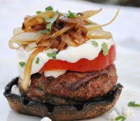 Lamb Burger With Goat Cheese Mayo and Grilled Onions