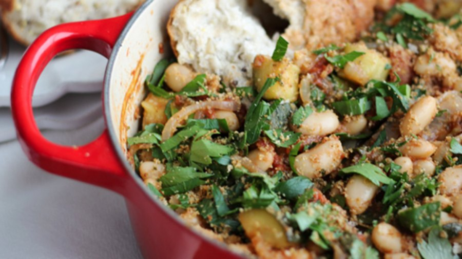 Vegan Cassoulet with White Beans and Garlic Breadcrumbs