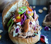 Recipe: Slow Cooker Peanut BBQ Pulled Pork Sandwiches with Thai Ginger Slaw