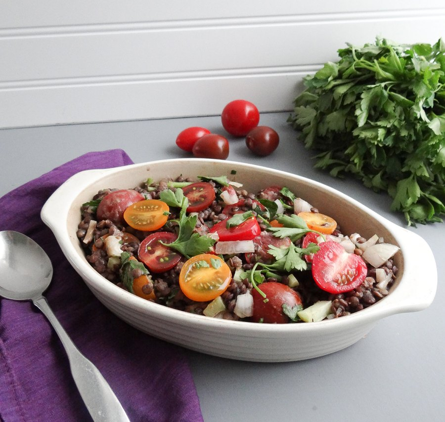 French Green Lentil Salad with Cherry Tomatoes