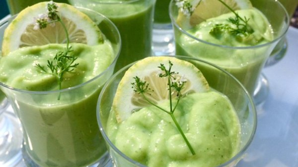 Chilled cucumber avocado soup