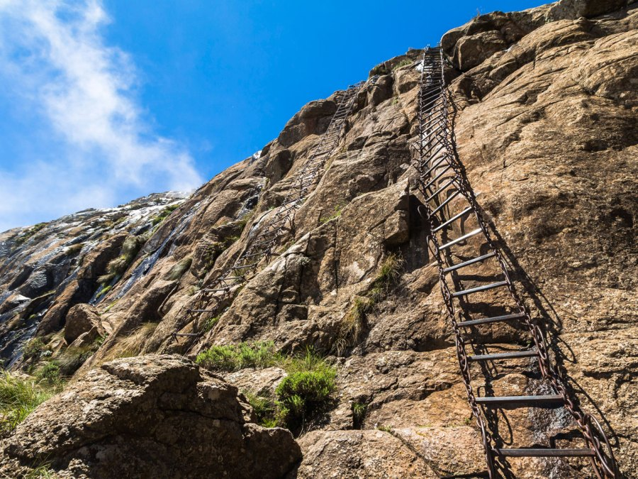 Chain ladders on the Sentinel Hike, Drakensberge, South Africa